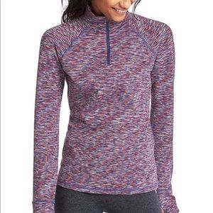 Gap Fit Purple Spacedye Half Zip Pullover